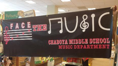 Chaboya's Face the Music Department Banner on Display