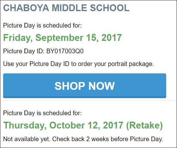 Picture dates and order ID information - go to Life Touch