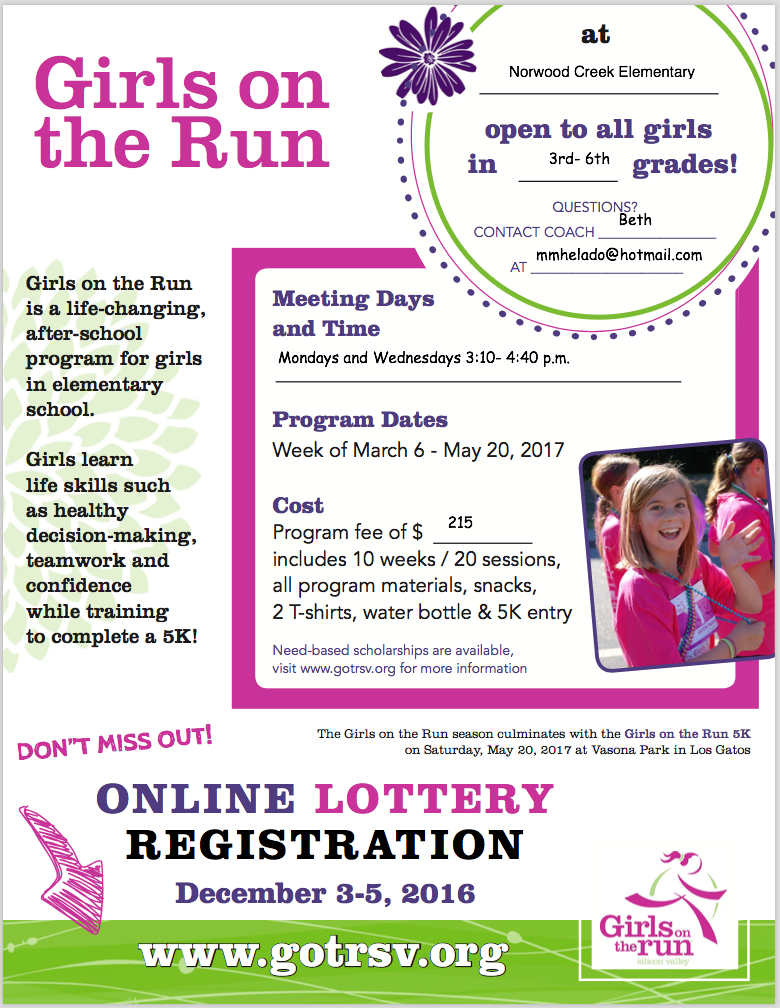 Girls on the Run flyer